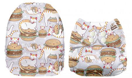 Cicák és hamburgerek Mama Koala pelenka (széles nyílású zsebbel)