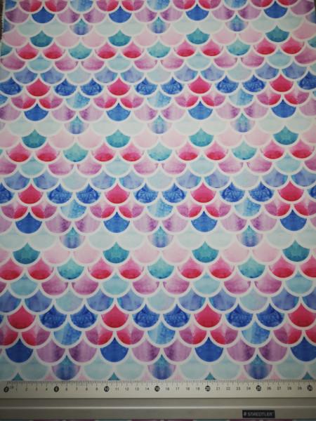 Solzi albastri-rosii material PUL pentru scutece textile moderne