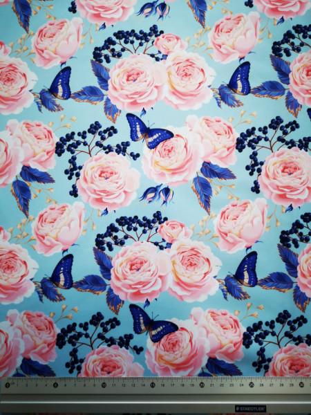 Trandafiri si fluturi albastre material PUL pentru scutece textile moderne