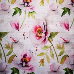 Rózsaszín virágok PUL anyag modern mosható pelenka készítéséhez