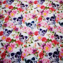 Cranii si flori material PUL pentru scutece textile moderne