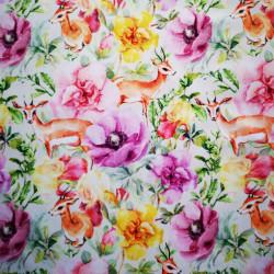 Gazela printre flori material PUL pentru scutece textile moderne