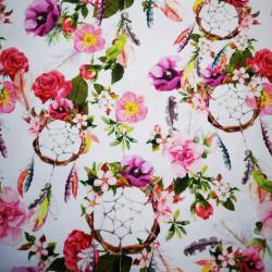 Virágok és álomfogók PUL anyag modern mosható pelenka készítéséhez