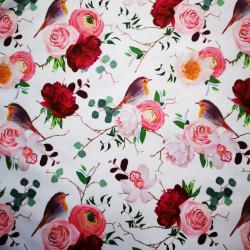Rózsa és madárka PUL anyag modern mosható pelenka készítéséhez