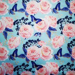 Rózsák és királykék lepkék PUL anyag modern mosható pelenka készítéséhez