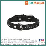 KERBL Kožna ogrlica za pse DIAMOND black 23 – 28 cm