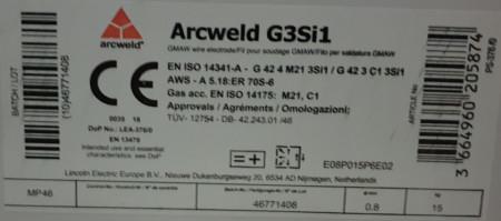 Sarma sudura SG2/G3Si1 - 0.8mm