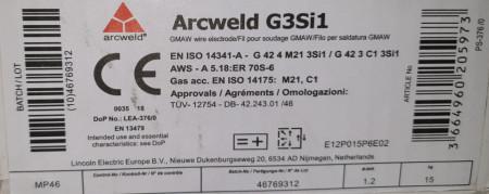 Sarma sudura SG2/G3Si1 - 1.2mm