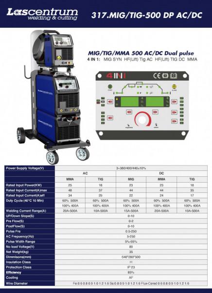 Invertor sudura LASCENTRUM MIG / TIG / MMA 500 AC / DC Dual impuls