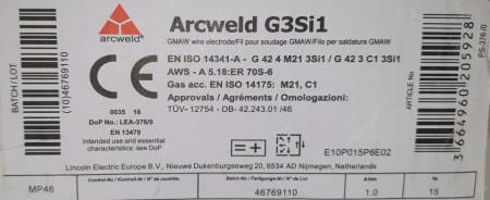Sarma sudura SG2/G3Si1 - 1.0mm