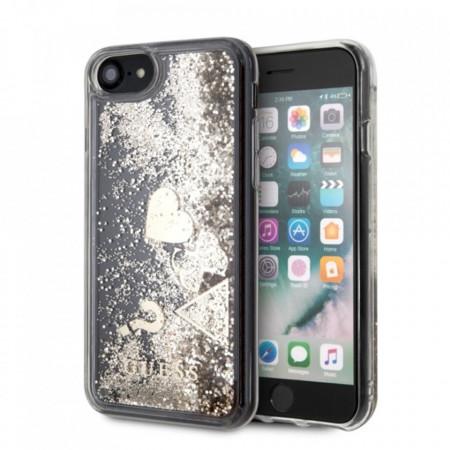 Оригинален гръб GUESS Glitter Hearts - iPhone 7 / 8 златен