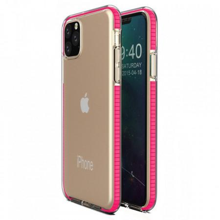 Силиконов гръб Spring с цветна рамка - iPhone 11 Pro розов