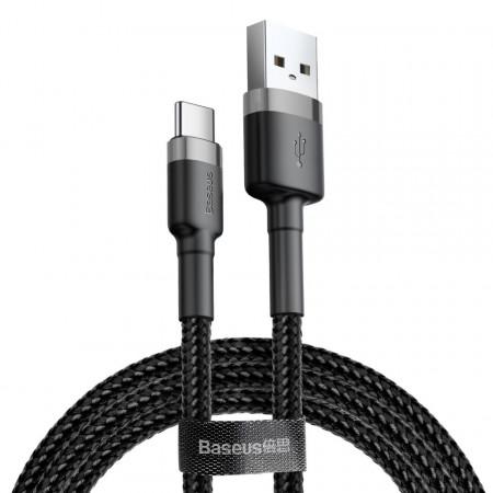 Кабел с оплетка BASEUS Cafule USB / Type-C 3A 1m черен-сив (CATKLF-BG1)