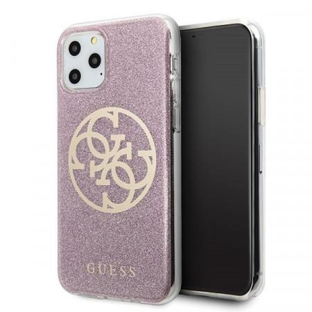 Оригинален гръб GUESS 4G Circle Glitter - iPhone 11 Pro Max розов