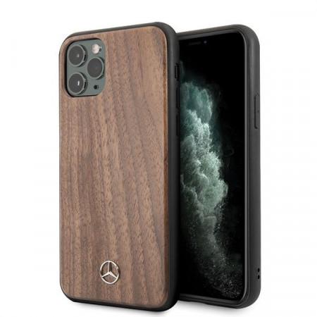 Оригинален твърд гръб Mercedes Wood Line Walnut MEHCN58VWOLB - iPhone 11 Pro кафяв