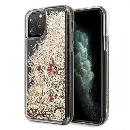 Оригинален гръб GUESS Liquid Glitter Hearts - iPhone 11 Pro Max златен