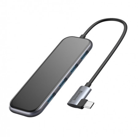 BASEUS Multi-function HUB Type-C to USB3.0*4+Power Delivery for Mobile Phone and Computer for MacBook / PC Dark сив (CAHUB-EZ0G)