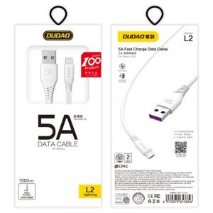 Кабел с оплетка за зареждане и трансфер на данни Dudao USB / micro USB 5A 1m бял (L2M 1m бял)