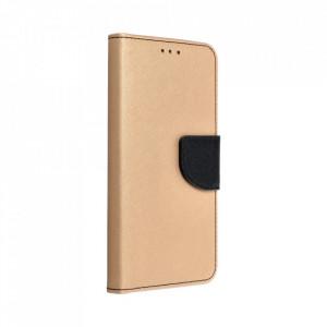 Калъф тип книга Fancy - SAMSUNG A20s златен-черен