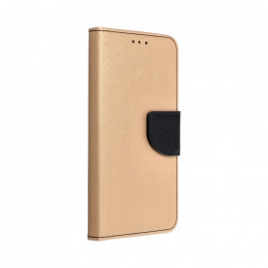 Калъф тип книга Fancy - Samsung Galaxy A20s златист / черен
