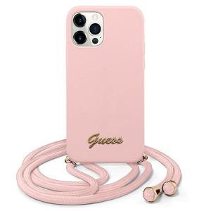 Оригинален гръб GUESS GUHCP12MLSCLMGLP - iPhone 12/12 Pro розов