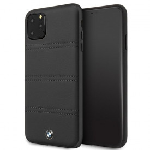Оригинален твърд гръб BMW BMHCN65PELBK - iPhone 11 Pro Max черен хоризонтални линии с лого