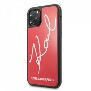 Оригинален твърд гръб KARL LAGERFELD Signature Glitter KLHCN58DLKSRE - iPhone 11 Pro червен