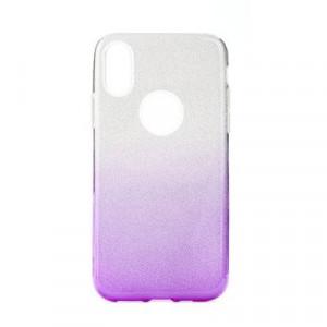 Силиконов гръб FORCELL Shining - iPhone 12 / 12 Pro сребрист / лилав