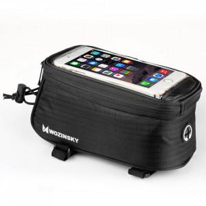 """Чанта за велосипед WOZINSKY с калъф за телефон 6.5"""" и за бутилка 1.5 л черна (WBB2BK)"""