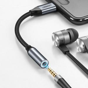 AUX сплитер Ugreen3.5mm mini jack /Type-C с букса за слушалки 10cm сив (30632)