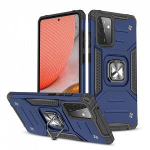 Wozinsky Релефен гръб Ring Armor със стойка - Samsung Galaxy A72/A72 5G син