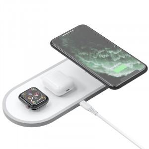 Безжично зарядно Dudao 3 в 1 Qi - AirPods / Apple Watch 38mm телефон / смартфон бял (A11 бял)