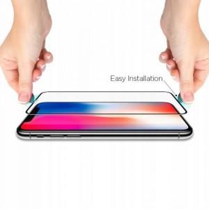 Закален стъклен протектор Spigen Align Master FC с рамка за поставяне - iPhone XR черен