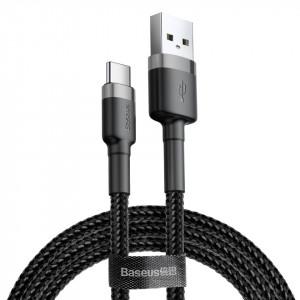 Кабел с оплетка BASEUS Cafule USB / Type-C 3A 0.5m черен-сив (CATKLF-AG1)