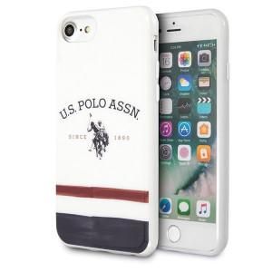 Оригинален гръб US Polo Tricolor Pattern Collection USHCI8PCSTRB - iPhone 7/8/SE 2020 бял