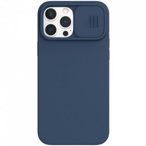 Силиконов гръб с покритие за камерата Nillkin CamShield Silky - iPhone 13 Pro Max син