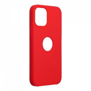 Силиконов гръб FORCELL Silicone - iPhone 12 Mini червен (с отвор за лого)
