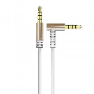 90° кабел Dudao AUX мини жак 3.5mm 1m бял (L11 бял)
