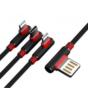 90° кабел за зареждане и трансфер на данни 3 в 1 PRODA Sparta USB - 2x Lightning / Type-C 5A 1m черен (Power Delivery-B11th черен)