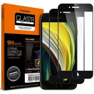 Закален протектор 0.3мм Spigen Glass Fc - iPhone 7/ 8 / SЕ 2020 черен - 2бр.