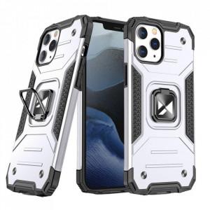 Релефен гръб Wozinsky Ring Armor със стойка - iPhone 13 Pro сребрист