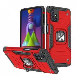 Релефен гръб Wozinsky Ring Armor със стойка - Samsung Galaxy M51 червен