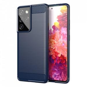 Силиконов гръб Carbon - Samsung Galaxy S21 Ultra син