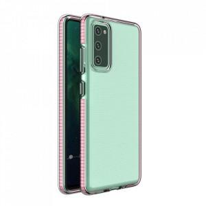 Силиконов гръб Spring с цветна рамка - Samsung A02S светлорозов