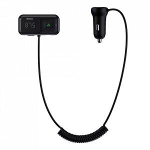 BASEUS S-16 FM Transmitter Bluetooth 5.0 2x USB зарядно за кола AUX MP3 TF micro SD 3.1 A черен (CCTM-E01)