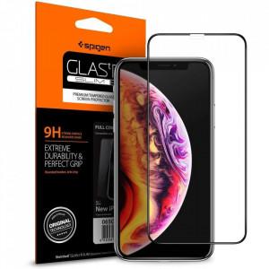 Закален стъклен протектор Spigen Align Master FC с рамка за поставяне - iPhone XS Max черен