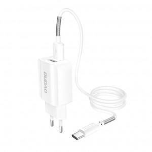 Зарядно за стена Dudao 2x USB Home Travel EU 5V/2.4A + Type-C кабел бял (A2EU + Type-c бял)
