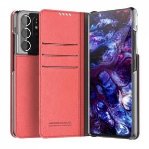 Калъф тип книга ARAREE Mustang Diary - Samsung Galaxy S21 Ultra червен