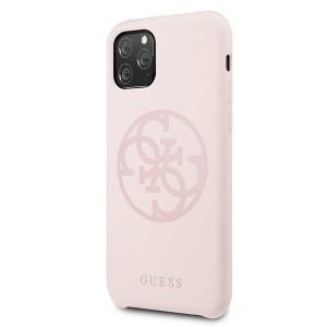 Оригинален гръб GUESS Silicone 4G Tone On Tone - iPhone 11 Pro Max светло розов