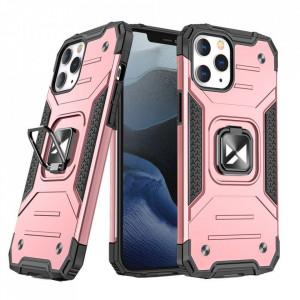 Релефен гръб Wozinsky Ring Armor със стойка - iPhone 13 розов